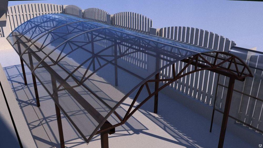 навес из моноилитного поликарбоната арочный